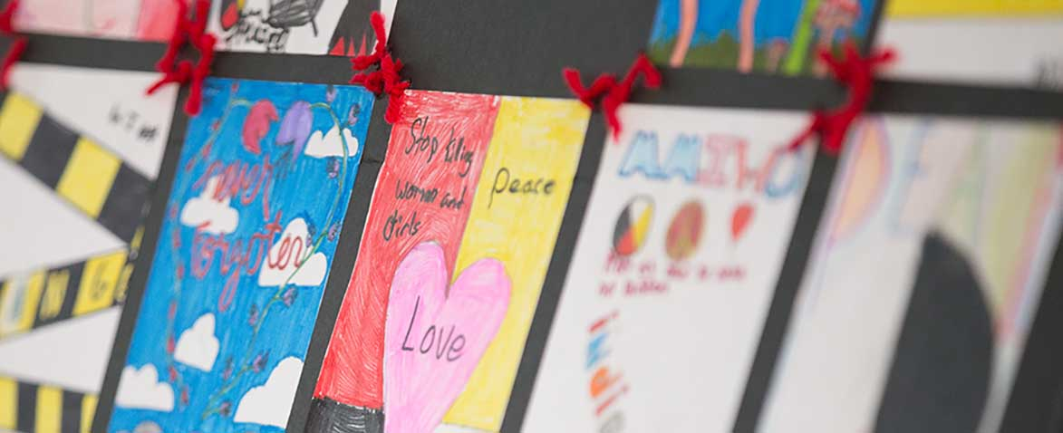 Children's quilt about ending violence